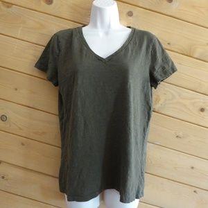 Joe Fresh Army Green Cap Sleeve Tee T-shirt Cotton